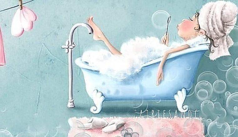 Хорошо, открытка в ванной