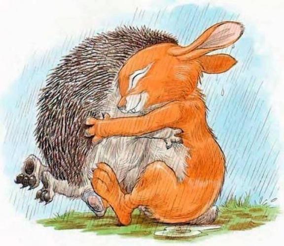 Открытка зайчики обнимаются, открытки пожеланием